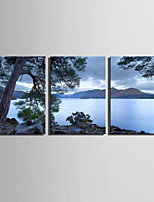 E-HOME Stretched Canvas Art Lake Scenery Decoration Painting  Set Of 3