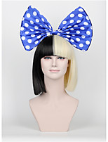 New Short paragraph Hair Bow Set Long Bangs Half Black Half Blonde Sia Styling Party Christmas Wigs High - end mesh  blue Big bow