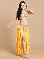 Belly Dance Outfits Women's Performance Spandex Sequins / Split 3 Piece Sleeveless Natural Dance Costumes Yellow