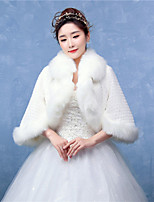 Women's Elegant Wrap Shrugs Half-Sleeve Faux Fur Wedding / Party/Evening Solid White