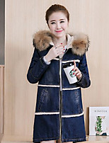 Women's Going out Casual/Daily Simple Street chic Denim Jackets,Solid Hooded Long Sleeve Fall Winter Blue Others Thick