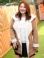 MsShe Women's Plus Size / Going out / Casual/Daily Simple / Cute / Street chic CoatSolid Hooded Long Sleeve Winter Pink / Brown Polyester Thick