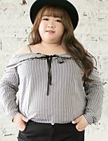 Chemise Femme,Rayé Sortie / Grandes Tailles simple Automne Manches Longues Epaules Dénudées Blanc Coton / Polyester