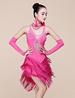 Latin Dance Dresses Women's Performance Spandex / Milk Fiber Beading / Tassel(s) 3 Pieces Sleeveless Natural Dress / Bracelets