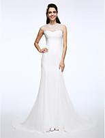 Lanting Bride® A-라인 웨딩 드레스 코트 트레인 쥬얼리 쉬폰 / 레이스 와 아플리케