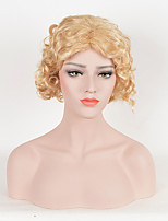 Hot Sale Women Blonde Color Synthetic Wigs Short Curly Wigs