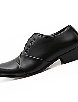 Черный / Коричневый / Белый / Черный и белый-Мужской-На каждый день-Полиуретан-На низком каблуке-Удобная обувь-Туфли на шнуровке