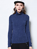 Women's Casual/Daily Plus Size Simple Regular Pullover,Solid Blue Black Long Sleeve Rayon Polyester Spandex Fall Winter Medium Stretchy