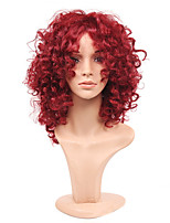Fashion Rihanna Charming Kinky Curly Wigs African American Kinky Curly Wine Red Short Wigs Synthetic Hair For Black Women