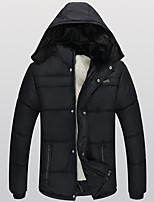 Hot Sale Men's Regular Padded CoatSimple Plus Size Solid-Polyester Polyester Long Sleeve Hooded Black