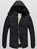 Пальто Простое Обычная На подкладке Мужчины,Однотонный Большие размеры Полиэстер Полиэстер,Длинный рукав Капюшон Черный