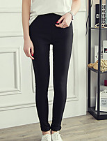 Women's Plus Size Skinny Chinos Pants,Casual/Daily Simple Solid Mid Rise Button Polyester Micro-elastic Fall