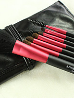 7 Makeup Brushes Set Synthetic/Horse Hair Professional / Portable Wood Handle Face/Eye/Lip Black