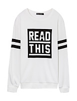 Metersbonwe Men's Casual/Daily Street chic Regular PulloverPrint White Round Neck Long Sleeve Polyester Fall Medium Inelastic