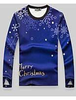 Men's Going out / Casual/Daily Simple Regular Hoodies,Geometric Blue Round Neck Long Sleeve Polyester Fall / Winter Medium Micro-elastic