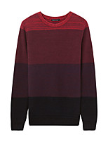 Metersbonwe Men's Casual/Daily Street chic Regular PulloverStriped Red Round Neck Long Sleeve Cotton Winter Thick Micro-elastic