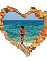 Heart Shape Wall Stickers Beauty Stickers Sea Scenery Decals for Family Home Decor