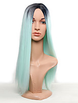 Fashion Ombre Mint Green Long Straight Synthetic Wig Glueless Dark Brown/Green Heat Resistant Hair Women Wigs