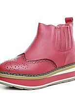 Черный Арбузный -Женский-Для офиса Для праздника Повседневный-Кожа-На платформе Микропоры-Удобная обувь-Ботинки