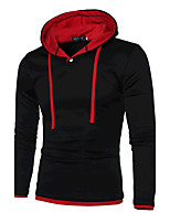 Men's Casual/Daily / Sports Simple / Active Regular Hoodies,Color Block Red / Black / Gray Hooded Long Sleeve Cotton Spring / Autumn