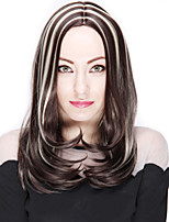 Long Straight Hair Brown and Blonde Mixed Color Synthetic Wigs for Women