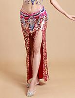 Dança do Ventre Tutos e Saias Mulheres Actuação Elastano / Poliéster Leopardo 1 Peça Natural Saia 93cm