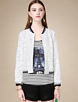 DOF Women's Casual/Daily Simple JacketsSolid Crew Neck Long Sleeve Fall White Cotton Medium