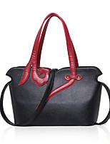 Women Tote PU All Seasons Formal Casual Event/Party Wedding Office & Career Barrel Zipper Ruby Black