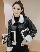Женский На каждый день Однотонный Кожаные курткиПростое Черный Длинный рукав,Полиуретановая