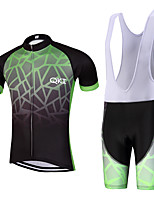QKI Dar Pro Cycling Jersey with Bib Shorts Men's Short Sleeve BikeBreathable / Quick Dry/Anatomic Design/reflective stripe/5D coolmax gel pad