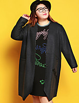 JAZZ  Women's Plus Size / Casual/Daily Simple CoatEmbroidered V Neck Long Sleeve Black Wool / Polyester
