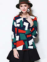MEIDONGTAI Women's Casual/Daily Simple Regular PulloverGeometric Green Round Neck Long Sleeve Polyester Fall Medium Micro-elastic