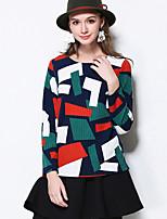 Normal Pullover Femme Décontracté / Quotidien simple,Géométrique Vert Col Arrondi Manches Longues Polyester Automne Moyen Micro-élastique