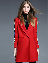 YBKCP Women's Casual/Daily Simple CoatLetter Notch Lapel Long Sleeve Fall / Winter Red Wool / Polyester