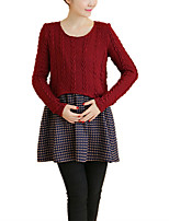 Maternity 'S Round Neck Patchwork Check Knitting Long Sleeve Dress
