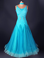 Ballroom Dance Dresses Performance Spandex Organza Draped Lace 1 Piece Sleeveless High Dress S-XXXL: 120-130