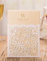 מותאם אישית מקופל הזמנות לחתונה כרטיסי הזמנה-50 יחידה / סט נייר פנינה