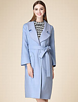 DOF Women's Casual/Daily Simple CoatSolid Notch Lapel Long Sleeve Winter Blue Cotton Medium