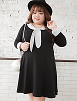 KELIXUAN  Women's Plus Size / Casual/Daily Simple Loose DressPatchwork V Neck Knee-length Long Sleeve Black Cotton / Polyester Fall Mid Rise