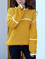 Women's Casual/Daily Simple Long Pullover,Striped Blue / Yellow / Purple Round Neck Long Sleeve Acrylic Fall / Winter Medium Micro-elastic
