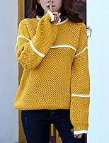 Mujer Largo Pullover Casual/Diario Simple,A Rayas Azul / Amarillo / Morado Escote Redondo Manga Larga Acrílico Otoño / Invierno Medio