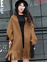 NININIU   Women's Casual/Daily / Going out Vintage Cloak/CapesSolid Shirt Collar Long Sleeve Fall / Winter Brown Wool Medium