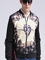 Men's Going out / Casual/Daily Simple Jackets,Color Block / Jacquard Standing Collar Long Sleeve Winter / Autumn Black Polyester Medium
