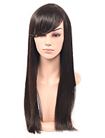 Cheap Long Straight Hair Synthetic Wig With Bangs Glueless Synthetic Wig For Black Women Natural Color Straight Hair Wig