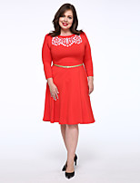 Women's Plus Size / Casual/Daily Simple Loose Dress,Solid Round Neck Knee-length 3/4 Length Sleeve Red Cotton Fall Mid Rise Micro-elastic