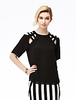 NAKED ZEBRA Women's Casual Street chic Spring BlouseSolid Round Neck Short Sleeve Red / Black Polyester