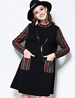 MEIDONGTAI Women's Plus Size / Casual/Daily Simple Loose DressStriped Stand Above Knee Long Sleeve Black Cotton / Rayon / Spandex Fall / WinterMid