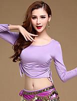 Dança do Ventre Blusas Mulheres Treino Modal 1 Peça Manga Comprida Top M: 51cm, L: 53cm, XL: 55cm