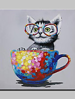 100% Hand-Painted Naughty Cat Animal Oil Painting On Canvas Modern Abstract Wall Art Pictures For Living Room Home Decoration Ready To Hang