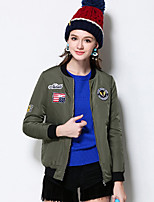 MEIDONGTAI Women's Plus Size / Casual/Daily Active JacketsLetter Stand Long Sleeve Fall / Winter Green Polyester Thick